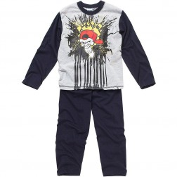 Children's Skull/Graffiti Pyjamas - Grey/Navy