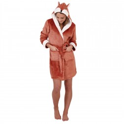 Loungeable Boutique Fox Hooded Robe - Brown