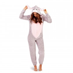 Loungeable Boutique Rabbit Onesie - Grey/Pink