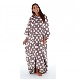 Inspirations Long Fleece Hooded Poncho - Grey