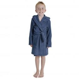 Kids Hooded Towelling Robe - Navy