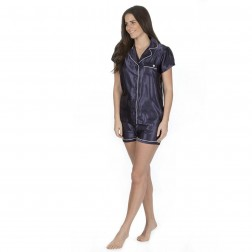 Forever Dreaming Short Satin Pyjama Set - Navy