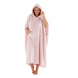 Masq Spot Print Fleece Hooded Poncho - Pink