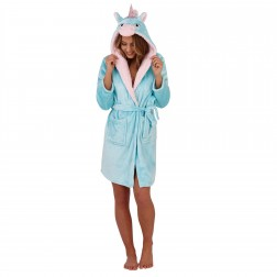 Loungeable Boutique Unicorn Hooded Robe - Aqua/Pink