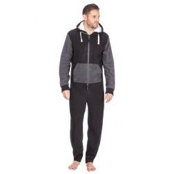 Onezee Contrast Fleece Onesie - Black