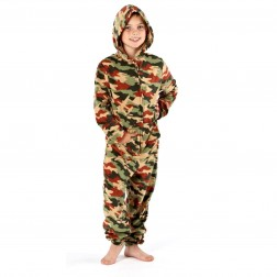 One 07 Army Camouflage Print Onesie - Green