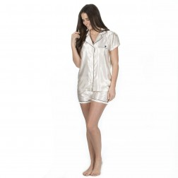 Forever Dreaming Short Satin Pyjama Set - Cream