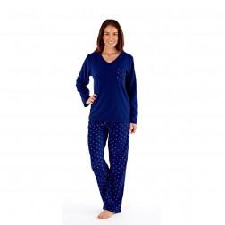 Selena Secrets Ladies V Neck Spot Print Pyjama Set - Navy