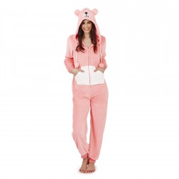 Loungeable Boutique Teddy Bear Fleece Onesie - Pink