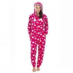 Onezee Spot Flannel Onesie - Hot Pink