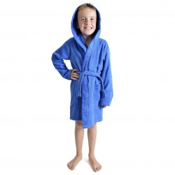 Kids Hooded Towelling Robe - Royal Blue
