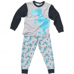 Children's T Rex Dinosaur Pyjamas - Grey/Blue