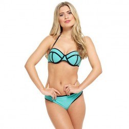 Tom Franks Neon Panel Bikini Set - Turquoise