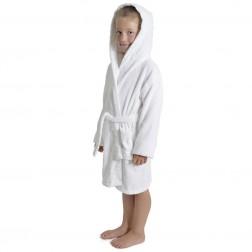 Kids Hooded Towelling Robe - White