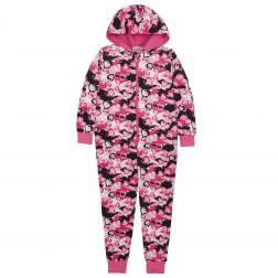 Onezee Camouflage/Hearts Fleece Onesie - Pink