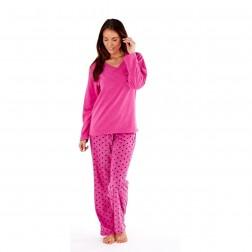 Selena Secrets Ladies V Neck Spot Print Pyjama Set - Flamingo