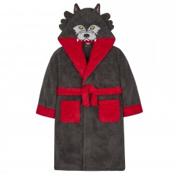 Kids Wolf Fleece Robe - Charcoal