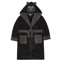 Kids Gorilla Fleece Robe - Black