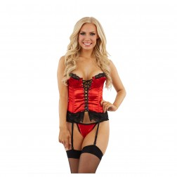 Classified Satin Basque and Thong Set - Red