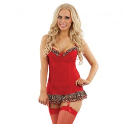 Sunburst Leopard Trim Chemise and Suspenders