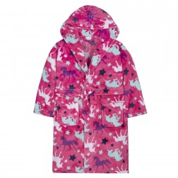 Kids Unicorn Print Fleece Robe - Pink