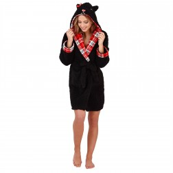 Loungeable Boutique Scotty Dog Robe - Black