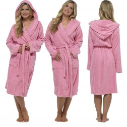 Tom Franks Cotton Hooded Towelling Robe - Pink