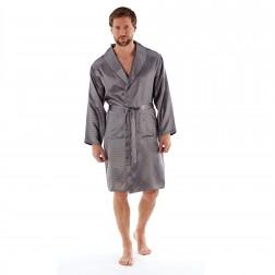 Harvey James Mens Satin Dash Kimono Robe - Grey