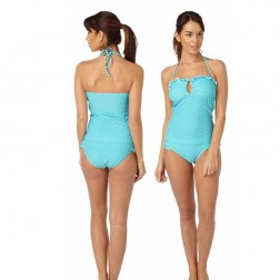 Hot Honi Gingham Print Tankini Set - Aqua
