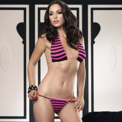 Leg Avenue Striped Halter Set