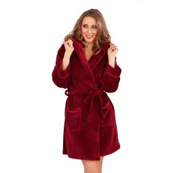 Ladies Super Soft Hooded Fleece Dressing Gown - Burgundy