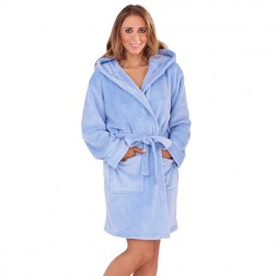 Ladies Super Soft Hooded Fleece Dressing Gown - Sorbet Blue
