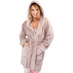 Ladies Super Soft Hooded Fleece Dressing Gown - Taupe