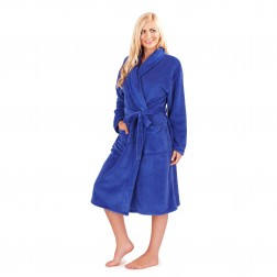 Ladies Super Soft Fleece Dressing Gown - Blue