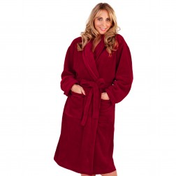 Ladies Super Soft Fleece Dressing Gown - Burgundy