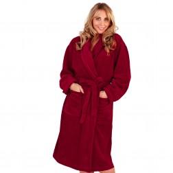 Ladies Super Soft Fleece Dressing Gown - Burgundy