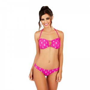 Boutique Pineapple Print Bikini Set - Fuchsia/Silver