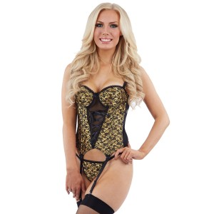 Sunburst Satin Basque and Thong Set - Gold