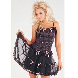 Sunburst Basque and Petticoat Set - Black/Pink