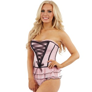 Sunburst Embroidered Ribbon Basque Set - Pink