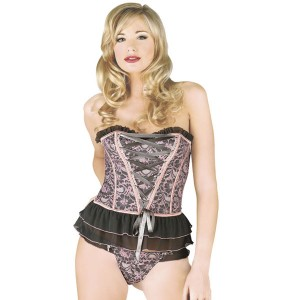 Sunburst Ruffled Trim Basque Set