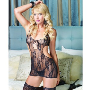 Leg Avenue Rose Lace Keyhole Cut Out Mini Dress - Black