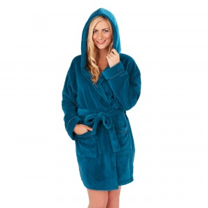 Ladies Super Soft Hooded Fleece Dressing Gown - Teal