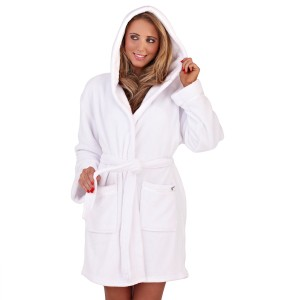 Ladies Super Soft Hooded Fleece Dressing Gown - White