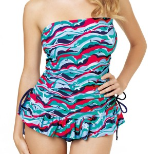 Panache Cleo Tilly Bandeau Tankini Dress - Bird Print
