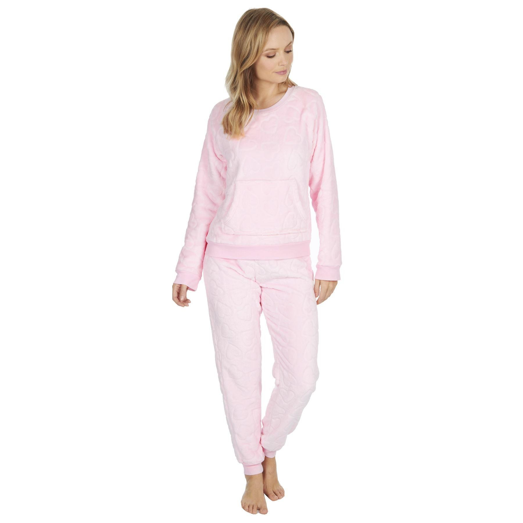 Forever Dreaming Ladies Embossed Heart Fleece Pyjama Set - Pink
