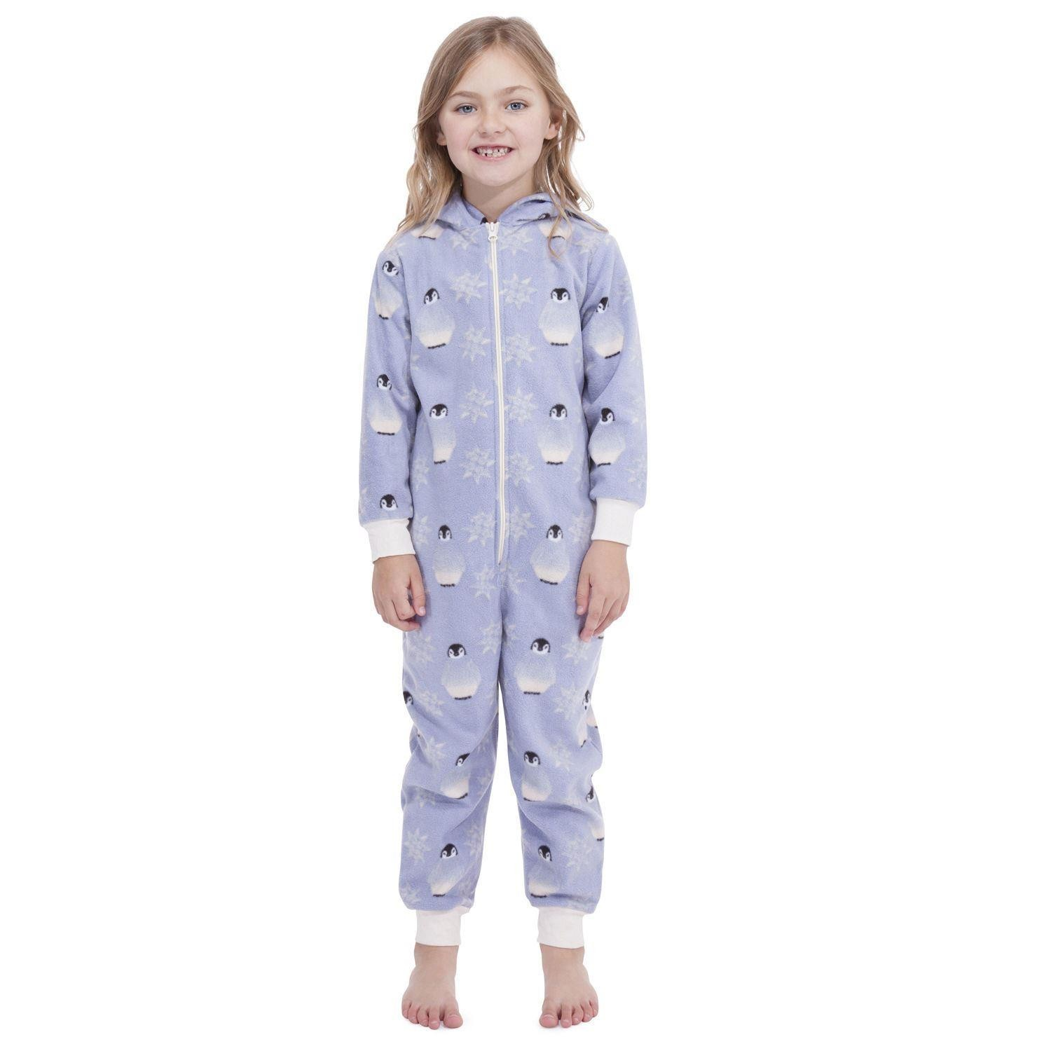 Girls Penguin Onesie - Blue