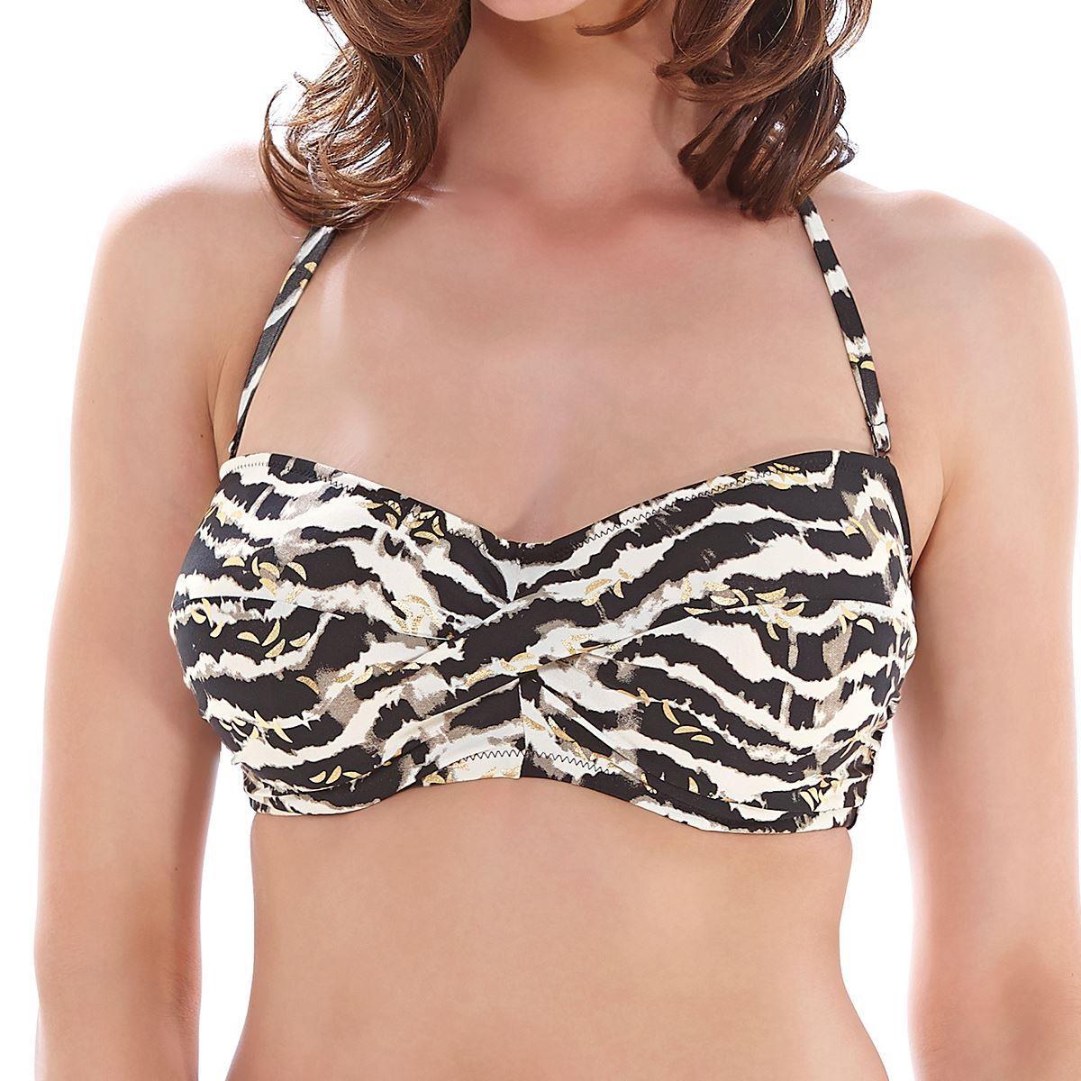 Fantasie Milos Twist Bandeau Bikini Top - Black/Cream