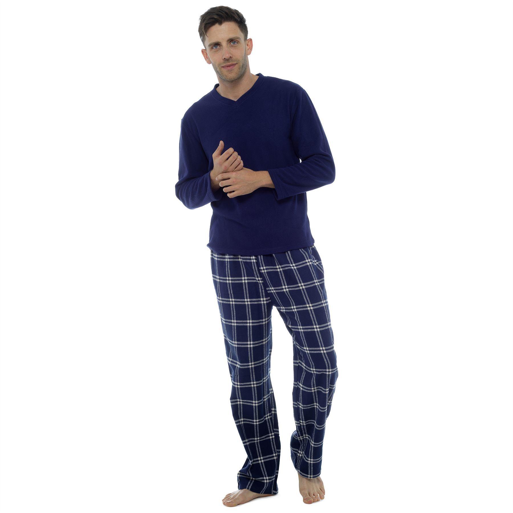 Tom Franks Mens Fleece/Flannel Check Pyjama Set - Navy