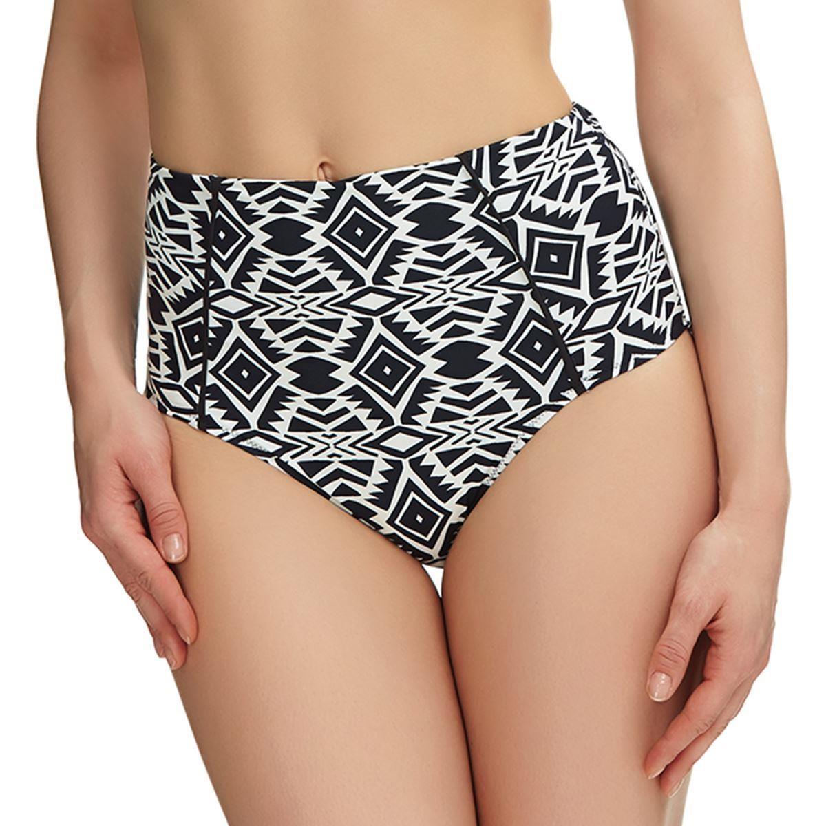 Fantasie Beqa High Rise Bikini Brief - Black/Cream